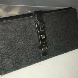 GUCCI GG Pattern Canvas and Leather Bifold Wallet